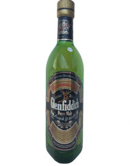 Antigua botella de whisky glenfiddich pure malt scotch whisky
